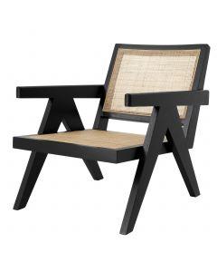 Aristide Black Chair with Rattan Cane Webbing