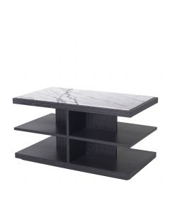 Miguel Charcoal Grey Oak & Bianco Lilac Marble Side Table