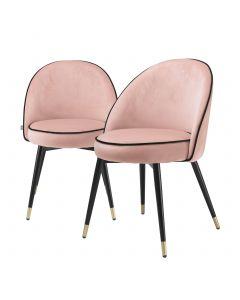 Cooper Savona Nude Velvet Dining Chair - Set of 2