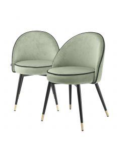 Cooper Savona Pistache Green Velvet Dining Chair - Set of 2