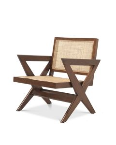 Augustin Classic Brown Armchair with Rattan Cane Webbing
