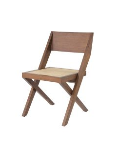 Adora Classic Brown Dining Chair with Rattan Cane Webbing