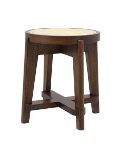Dareau Classic Brown Stool with Rattan Cane Webbing