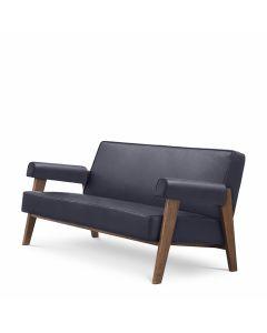 Milo Blue Leather & Brown Oak Sofa