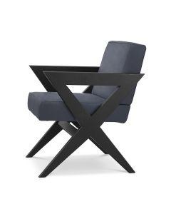 Felippe Blue Nubuck Leather & Black Oak Dining Chair