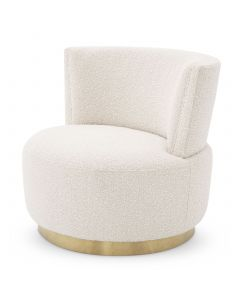 Alonso Boucle Cream Swivel Chair