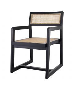 Dinant Classic Black Dining Chair with Rattan Cane Webbing