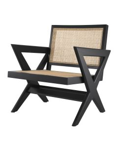 Augustin Classic Black Armchair with Rattan Cane Webbing