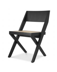 Adora Classic Black Dining Chair with Rattan Cane Webbing