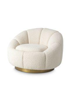 Inger Boucle Cream Swivel Armchair