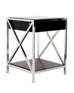 Beverly Hills Stainless Steel Bedside Table