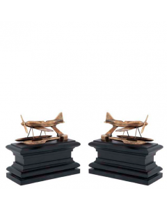 Hydroplane Brass & Black Wood Bookend - Set of 2