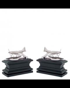 Hydroplane Nickel & Black Wood Bookend - Set of 2