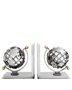 Globe Nickel & Brass Bookend Set of 2