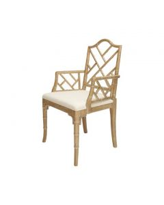 Bistrol Chippendale Cerused Oak Bamboo Dining Chair