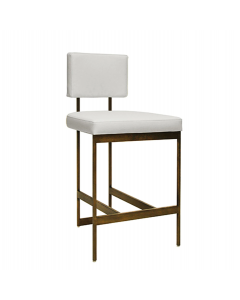 Worlds Away Baylor Bronze Counter Stool with White Vinyl Cushion