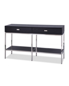 Levi Black Ash & Stainless Steel Console Table