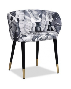 Ola Tropical Black & White Linen Dining Chair