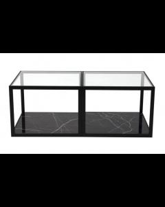 Tamon Square Black Marble Coffee Table - Set of 2