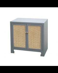 Alden Grey Lacquer Cane Cabinet