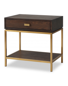 Levi Dark Brown & Brass Bedside Table