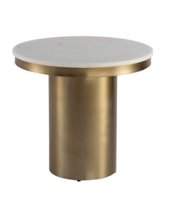 Camden Brass Side Table with White Marble Top