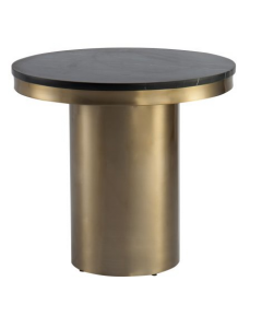 Camden Brass Side Table with Marquina Black Marble Top