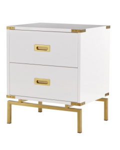 Genoa White & Brass Two Drawer Bedside Table