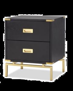 Genoa Black Ash & Brass Two Drawer Bedside Table