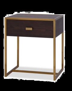 Holman Chocolate Ash & Brass Bedside Table