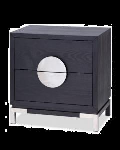 Otium Black Ash & Stainless Steel Bedside Table