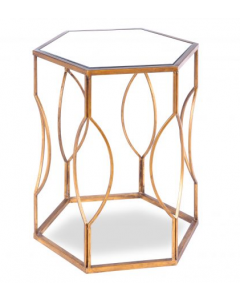 Tao Antique Gold & Antique Mirror Side Table