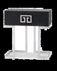 Nobbu Black Ash & Stainless Steel Bedside Table