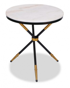 Eton Black Side Table with White Marble Top