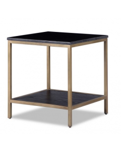 Max Brass Side Table with Black Marble Top