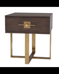 Ophir Dark Brown Oak & Dark Brass Side Table