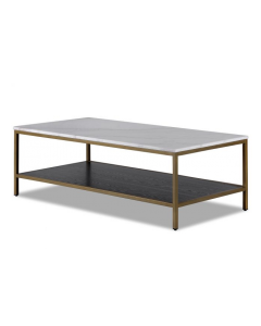Max Brass Coffee Table with White Marble Top