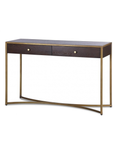 Rivoli Chocolate Brown & Brass Console Table