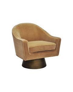 Dominic Camel Velvet Swivel Chair