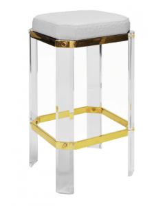 DORSEY ACRYLIC BAR STOOL WITH BRASS AND WHITE OSTRICH