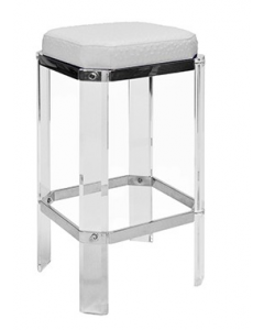 DORSEY ACRYLIC BAR STOOL WITH NICKEL AND WHITE OSTRICH