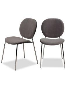 Elsa Kaster Horizon Grey Velvet Dining Chair - Set of 2