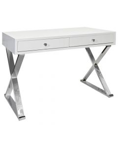 WORLDS AWAY JARED STAINLESS STEEL DESK