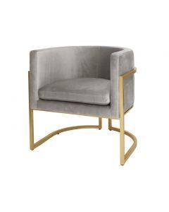 Jenna Grey Velvet Gold Leaf Armchair