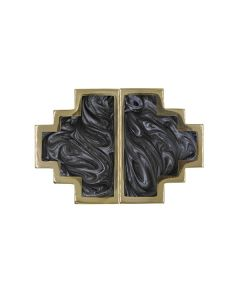 Levi Set of 2 Geometric Brass & Charcoal Knobs