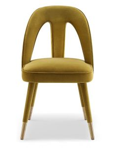 Pigalle Kaster Mustard Velvet Dining Chair
