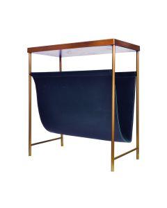 Mayfair Brass & Blue Leather Magazine Rack