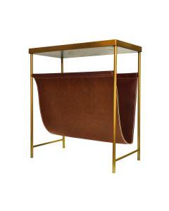 Mayfair Brass & Brown Leather Magazine Rack