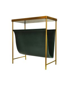 Mayfair Brass & Green Leather Magazine Rack