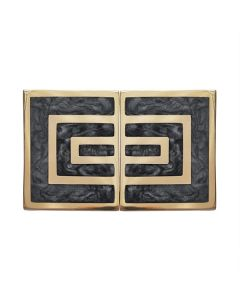 Moira Set of 2 Geometric Brass & Charcoal Knobs